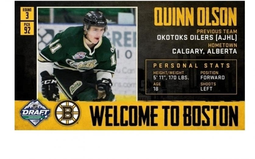 0086d5b1626be9 Oilers Quinn Olson Drafted by Boston Bruins
