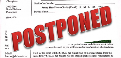 Thunder postpone local minor hockey camp...